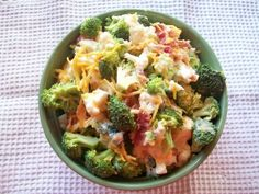 Broccoli-Cauliflower Salad   SIL made this one summer and its been a staple ever since.   Dressing: 1 cup mayonnaise 1/2 cup white sugar 2 tablespoons white wine vinegar