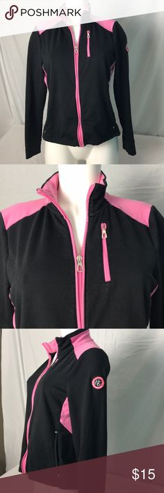 "Ralph Lauren Pink and Black Light Weight Jacket Black and pink Zip Up Coat with side pockets and shoulder zip pocket. Arm pit to arm pit across the front is 19"". Length 22"" Lauren Ralph Lauren Jackets & Coats"
