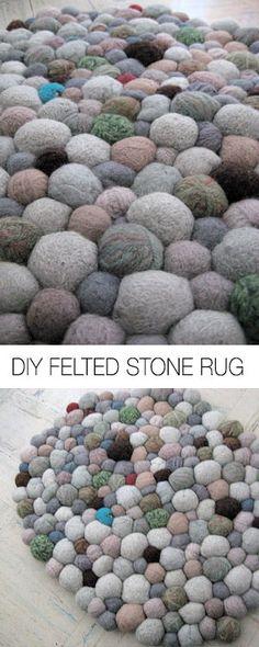 DIY Felted Stone Rug