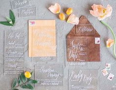 Acrylic Invitation Suite, Escort Cards and Menus + Leather and Velvet Envelopes by With Wild and Grace