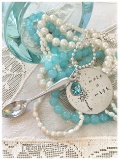 Make a Wish. Spoonful of courage and hope available on www. Make A Wish, How To Make, Aqua Blue, Pearl Necklace, Beautiful Pictures, Jewelry Making, Jewellery, Pearls, Beach