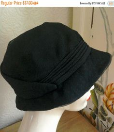 fad2afb6bf6 ON SALE Vintage Hat Black French c1920s Womens Vintage Hat Chiffon Pleated  Detail Wired Rim Silk