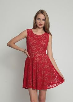 Get ready for the holidays in our Berkeley Dress in Red Dusk.  Made of red lace and beige lining, it gives a flawless finish to the body.  Wear it with a festive coat or black tights to look accomplished.