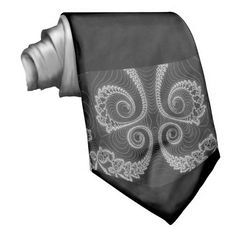 Black grey and white fractal, on a mans tie.