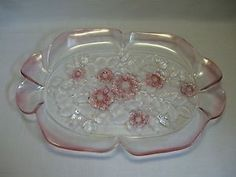 Mikasa Crystal Canape Serving Tray Rosella Frosted Pink Flowers Leafs 1989-1997