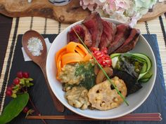 Char-grilled Wagyu steak and seasonal vegetables rice bowl