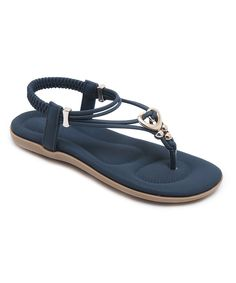 Take a look at this Navy & Goldtone-Accent Strappy Sandal - Women today!