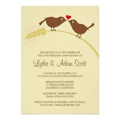 Shop Love Birds Silver Wedding Anniversary Party Invitation created by superdazzle. Personalize it with photos & text or purchase as is! Wedding Anniversary Invitations, Country Wedding Invitations, Engagement Party Invitations, Anniversary Parties, Bridal Shower Invitations, Silver Anniversary, Wedding Rsvp, Wedding Card, Wedding Bride