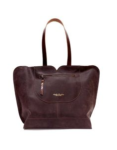 A designer hand made large leather tote with a rough yet feminine look  Crass seems that have prominent presence that show case the high quality