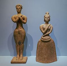 Minoan man and woman in ritual postures