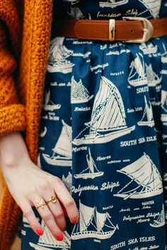 Bright chunky knit and a beautiful patterned dress - via A Clothes Horse: Outfit: South Seas