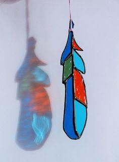 Стеклянное перо 18 см витражная подвеска от caracoja на Etsy