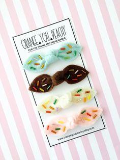 Ice Cream Sprinkles Felt Hair Clips knot hair by OrangeYouPeachy