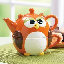 Orange Owl tea for one stacking teaset (teapot and cup) . pieces stack to form orange and brown round-bodied owl, ceramic Teapot Cookies, Owl Cookies, Coffee Cups, Tea Cups, Owl Kitchen, Autumn Tea, Tea For One, Teapots And Cups, Chocolate Pots