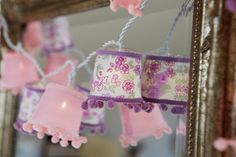 Vintage Style String Lights Delightfully Vintage...  Cute and vintage style, these gorgeous string lights have 10 LED lamps each covered by little shades in a plain and floral print. Would look great draped over a mirror, wardrobe, bed - the list is endless.