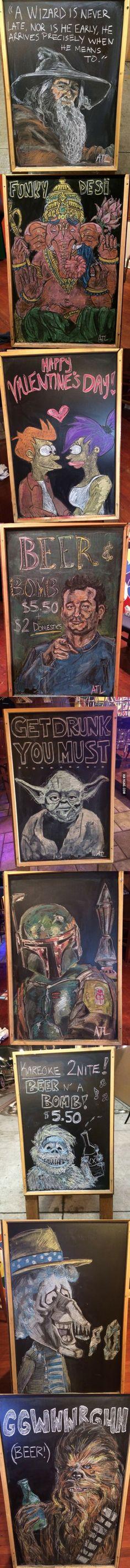 Pub board chalk art