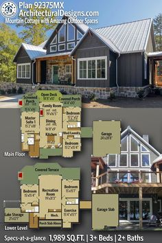 House Plan 92375MX gives you 1900+ square feet of living space with 3+ bedrooms and 2+ baths. AD House Plan #92375MX #adhouseplans #architecturaldesigns #houseplans #homeplans #floorplans #homeplan #floorplan #houseplan Cabin House Plans, Mountain House Plans, Craftsman House Plans, Best House Plans, Dream House Plans, Modern House Plans, Small House Plans, Craftsman Cottage, Mountain Cottage