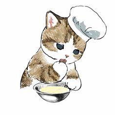 Cute Cat Drawing, Cute Animal Drawings, Cartoon Drawings, Cute Drawings, Kittens Cutest, Cats And Kittens, Cute Cats, Images Gif, Diy Painting