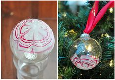 Make your own christmas ornaments with fingernail polish and clear bulb ornaments.