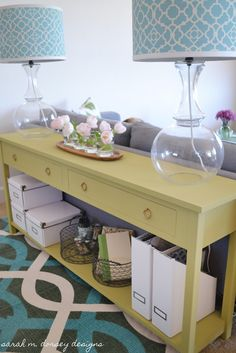 Great DIY instructions.  Nice narrow but long table for storage in tight spaces: sarah m. dorsey designs: Sofa Table Happiness!