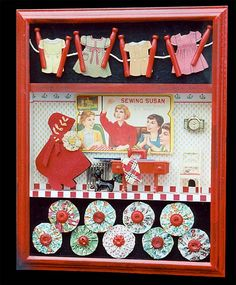I especially like Bloom's use of red in her assemblages.
