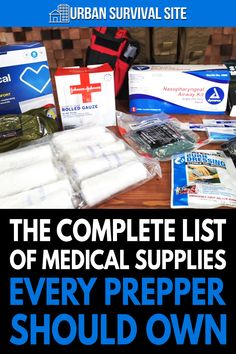 Medical supplies won't always be on store shelves, and doctors won't always be available. Here's a list of first aid supplies to stockpile. Kids Survival Skills, Survival Prepping, Survival Gear, Survival Blog, Survival Hacks, Homestead Survival, First Aid Supplies, In Case Of Emergency, Emergency Food