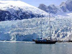 """S.Y. """"Spirit of Assy"""", vor einem Gletscher in Feuerland. Nahe dem Beagle Kanal"""