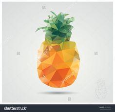 Geometric Polygonal Fruit, Triangles, Pineapple, Vector Illustration - 181762013 : Shutterstock