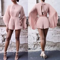 Backless Jumpsuit Cultivate One's Morality Short Batwing Sleeve One Piece Dress Classy Outfits, Chic Outfits, Summer Outfits, Girl Fashion, Fashion Dresses, Womens Fashion, Fashion Design, Mode Ootd, Backless Jumpsuit