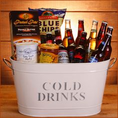Cold Drink Basket. Put all of your guy's favorite bottle drinks in a bucket for him to enjoy!