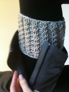 This is a pattern for boot cuffs, so you can have the appearance of wearing socks over the tops of your boots without the added bulk of thick, winter socks.