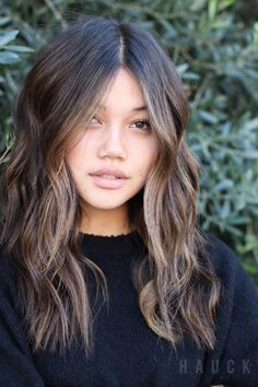 Asian Hair Highlights, Blonde Asian Hair, Hair Color Asian, Brunette Hair, Asian Ombre Hair, Sunkissed Hair Brunette, Highlights Around Face, Light Brown Hair, Light Hair