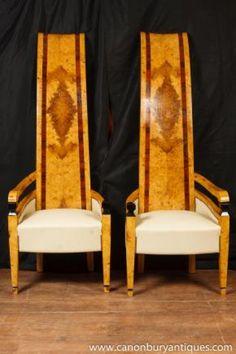 Pair Art Deco Arm Chairs High Back Club Chair Seat