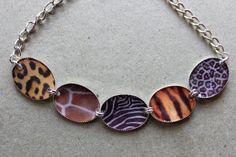 Items similar to Safari Themed Leopard Spots Tiger Stripes Zebra Stripes Giraffe Animal Print altered art necklace on Etsy Leopard Spots, Tiger Stripes, Tiger Print, Safari, Trending Outfits, Unique Jewelry, Handmade Gifts, Etsy, Kid Craft Gifts