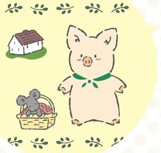Zashikibuta | A curious but laidback pig, Zashikibuta loves to eat! Spends his days making food such as sweets and growing vegetables with his friend Tabby.