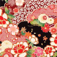 black Kokka Japanese flower fabric with gold 1