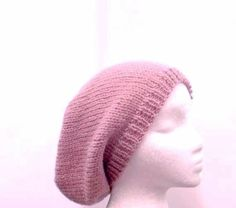 Knit Beanie soft Pink Slouch  Beret size large 4428 by CaboDesigns, $26.00