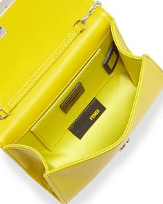 Fendi Rush Mini Leather Clutch Bag, Lime