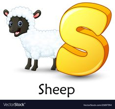 Letter s is for sheep cartoon alphabet vector image on VectorStock Alphabet For Kids, Learning The Alphabet, Alphabet And Numbers, Nursery Worksheets, Alphabet Tracing Worksheets, Sheep Cartoon, Jungle Decorations, School Library Design, Abc Cards