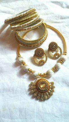 To order, pls what's app on 9704084116 Silk Thread Jhumkas, Silk Thread Bangles Design, Silk Thread Necklace, Silk Bangles, Beaded Necklace Patterns, Thread Bracelets, Thread Jewellery, Jewelry Patterns, Beaded Jewelry