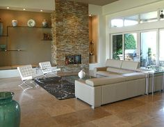 Image result for stacked stone fireplace photos