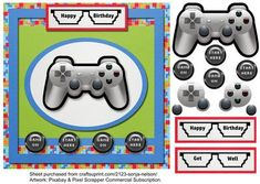 Male Teenager Birthday Video Games Gamer Playstation on Craftsuprint designed by Sonja Nelson - Step by step card front with video game theme. Birthday and get well sentiments. Insert available. See my sample below. - Now available for download!