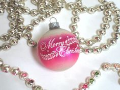 VINTAGE SHINY BRITE  Pink Ornament  Merry by IWANTVINTAGE on Etsy, $8.00