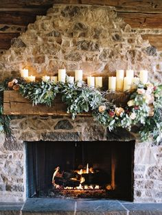 Floral Garland and Candle Mantel Decor | Brumley and Wells Photography | Fall Beach Wedding Inspiration