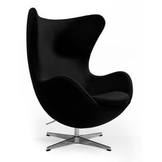 The egg lounge chair - black wool ($1,350) ❤ liked on Polyvore featuring home, furniture, chairs, accent chairs, onyx furniture, colored furniture, black accent chair, black furniture and black chair