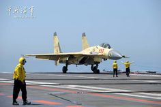 Shenyang J-15 Flying Shark naval-based fighter taking off from aircraft carrier Liaoning, People's Liberation Army Navy (PLAN)   Xinhua