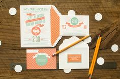 teal and orange wedding invitation, by Wednesday (from Troolie)