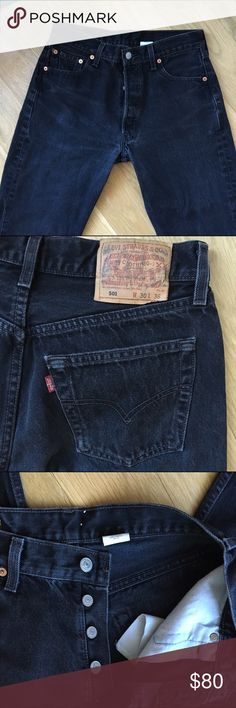"🆕Rare Vintage Levi's 501 high waist black denim Omg! I wish these were my size :(  you can cut these to your desired length to make your own cut off shorts!! Or be that stylists that wears them cuffed ankle length. I will not cut these so you can do with as your heart desires. Vintage Levi's are in men's sizes and u should only buy via measurements not the tag size. This is a high waist fit! Inseam 34.5"". Waist flat 15"" fits 26-27. Waist around 31.6"". Rise 11"". Hip 19"". Under pockets 21""…"