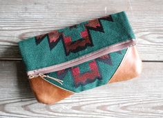 Southwestern Leather Foldover Clutch by hoakonhelga on Etsy, $45.00