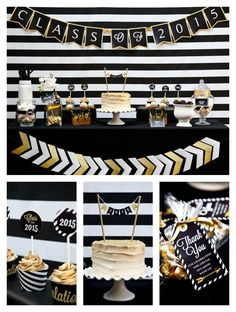 cool grad party decorations in black and gold